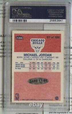 1986-87 Fleer BASE Signed Autograph AUTO #57 Michael Jordan AU RC! PSA 9 UDA COA