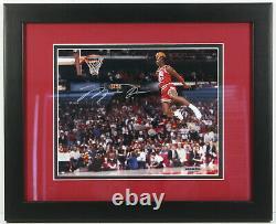 1988 Michael Jordan Chicago Bulls Signed Framed Dunk Contest Photo Uda Coa Mint
