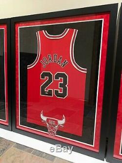 (3) Michael Jordan Upper Deck Uda Signed Chicago Bulls Framed Jerseys