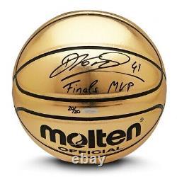 Dirk Nowitzki Signed Autographed Molten Gold Trophy Basketball Mavericks /20 UDA