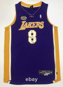 KOBE BRYANT Autographed Lakers 3x Champ Patch Authentic Jersey UDA LE 55/108