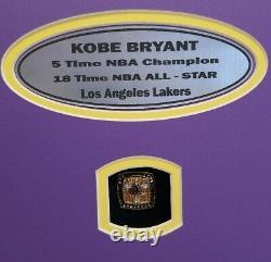 KOBE BRYANT Signed LAKERS, NBA CHAMP, Panoramic Photo, NBA RINGS Framed. UDA