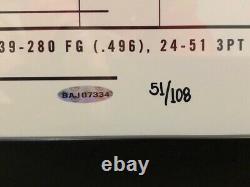 Kobe Bryant Auto Signed Upper Deck UDA Scoring Streak #51/108 Framed 48 x 24