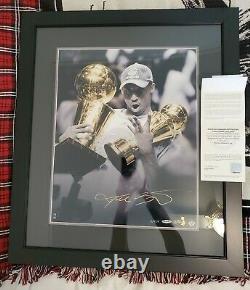 Kobe Bryant Autographed 16x20 Framed Trophy Photo UDA 2/124 Ultra Rare