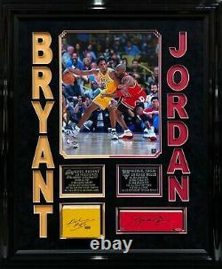 Kobe Bryant Michael Jordan Signed/Framed Game Used Floor Lakers/Bulls UDA/Panini