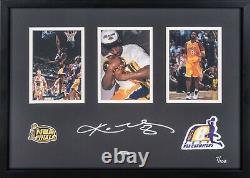 Kobe Bryant Signed 2000 NBA Finals Patch Collage Photo 16x23 Upper Deck UDA COA