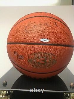 Kobe Bryant Signed UDA 3 Peat Championship Basketball 2002 L/E 41/108