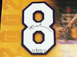 Lakers Kobe Bryant Signed Three Peat Jersey Num. 8 Piece withUDA Upper Deck COA