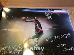 LeBron James Autographed 16x20 Photo 21,793 Career Pt Flying Upper Deck UDA