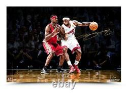 LeBron James Signed Autographed 16X24 Photo First and 10 vs. Himself #/100 UDA