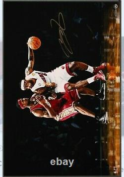 Lebron James Signed Autographed 16X24 Rookie Photo First and 10 Auto /100 UDA SP