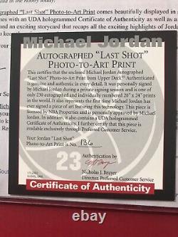 MICHAEL JORDAN AUTOGRAPHED UDA LTD 136/230 PHOTO 20x28 CHICAGO BULLS, LAST SHOT