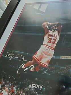 MICHAEL JORDAN Autographed Bulls Mid-Air Slam 16x20 Photo UDA /300 Last Dance