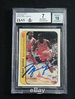Michael Jordan 1986 Fleer Sticker Signed Upper Deck Uda Rookie Autograph (bas)
