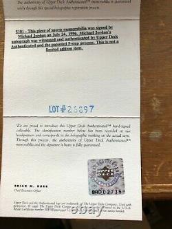 Michael Jordan'96 Autographed Pinstripe Jersey. UDA. Rare. Framed