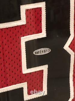 Michael Jordan Authentic Signed Jersey UDA Red Chicago Bulls Framed HOF