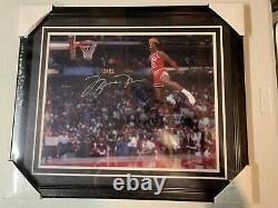 Michael Jordan Autograph Signed Bulls 16x20 Dunk Photo Framed UDA Upper Deck