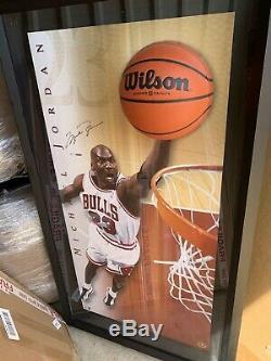 Michael Jordan Autographed Framed Break Breaking Through Photo Bulls /223 UDA MJ