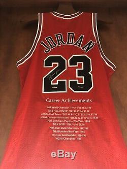 Michael Jordan Autographed Signed Red Chicago Bulls Career Nike Jersey UDA /123