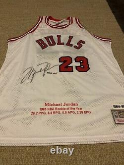 Michael Jordan Autographed White M&N ROOKIE'84 jersey signed Upper Deck UDA LE