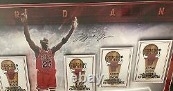 Michael Jordan Championship Banners Piece UDA COA HOLO Signed Auto Rings framed