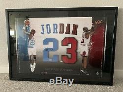 Michael Jordan Framed Signed UDA Jersey Numbers 23 UNC/Bulls