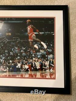 Michael Jordan Signed 16x20 Slam Dunk photo framed UDA Upper Deck MJ Auto Bulls
