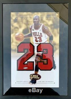 Michael Jordan Signed 16x22 FRAMED (1998 Finals Champions) Jersey Numbers UDA
