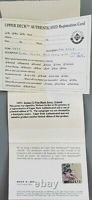 Michael Jordan Signed 95-96 Black Pinstripe Jersey Inscribed 72-10 UDA LE 72