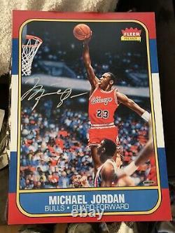 Michael Jordan Signed Autographed 13X17 Photo 1986-87 Fleer RC Blow-Up Bulls UDA