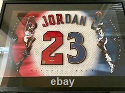 Michael Jordan Signed Framed Uda Chicago Bulls Red 23 Jersey Numbers Upper Deck