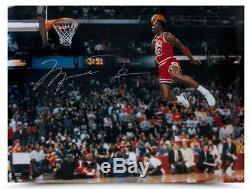 Michael Jordan Signed Slam Dunk 30x40 Framed Photo UDA COA Auto Upper Deck Bulls