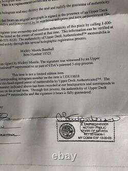 Mickey Mantle UDA Autograph, Single Signed ROMLB Ball, Yankees HOF The Mick