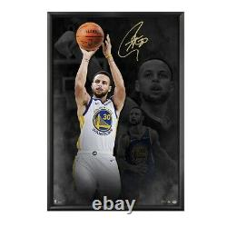 Stephen Curry Autographed 40X60 Framed Breaking Through Photo Warriors /30 UDA