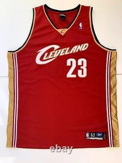 UDA Rookie LeBron James Autographed Authentic 2003 Reebok Cavs Red Away Jersey