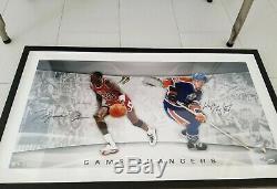 UDA Upper Deck Michael Jordan Wayne Gretzky Auto Signed 36x18 Framed Photo /150