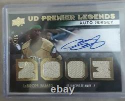 15/15 Or Lebron James Première Legends Hs Jersey Patch Autograph Uda Authentique