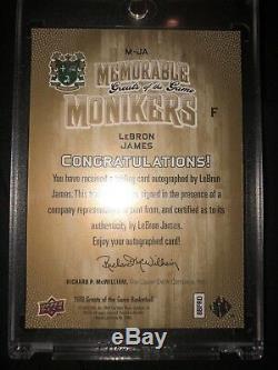 / 15 Auto Lebron James Upper Deck Mémorable Sobriquets Uda Autograph Bgs Psa Cond