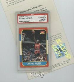 1986-87 Fleer Base Signé Autographe Auto #57 Michael Jordan Au Rc! Psa 9 Uda Coa