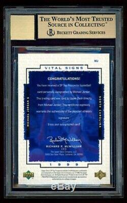 1999 Michael Jordan Auto (90s) Uda Sp Signes Vitaux # 23/23 Jersey Bgs 9.5 / 10 Psa