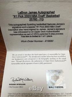 1/1 Lebron James Autographié 2003 # 1 Repêchage Nba Basket Ball Uda Upper Deck