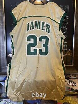 2002-03 Lebron James Uda Signé Game High School Jersey Svsm Première Édition
