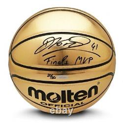 Dirk Nowitzki A Signé Autographied Molten Gold Trophy Basketball Mavericks /20 Uda
