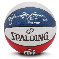 Julius Erving Signé Autographié Spalding Aba Basketball New York Nets #/32 Uda