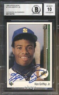 Ken Griffey Jr. 1989 Deck Supérieur #1 Rc Rookie Autographe Uda Bgs 10 Gem Mint
