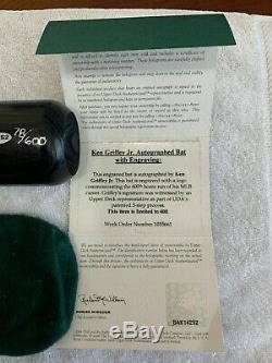 Ken Griffey Jr Autographié Louisville Slugger Modèle Jeu Bat 600 Hr Limitée Uda