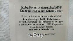 Kobe Bryant # 24 Signé 07/08 Jersey Nba Mvp Upper Deck Édition Limitée / 224 Uda