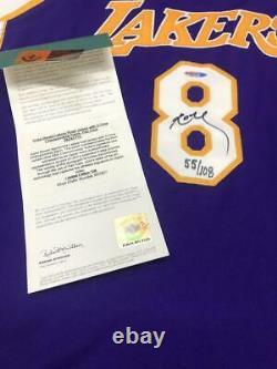 Kobe Bryant Autographié Lakers 3x Champ Patch Authentic Jersey Uda Le 55/108