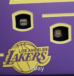 Kobe Bryant Signé Lakers, Nba Champ, Photo Panoramique, Nba Rings Encadré. Uda