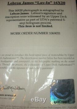 Lebron James Auto Rookie Signé 16x20 Photo Photographie Upper Deck Uda Coa
